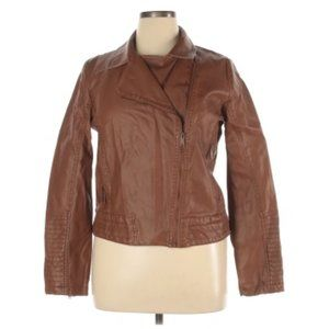 Universal Thread Brown Faux Leather Moto Jacket